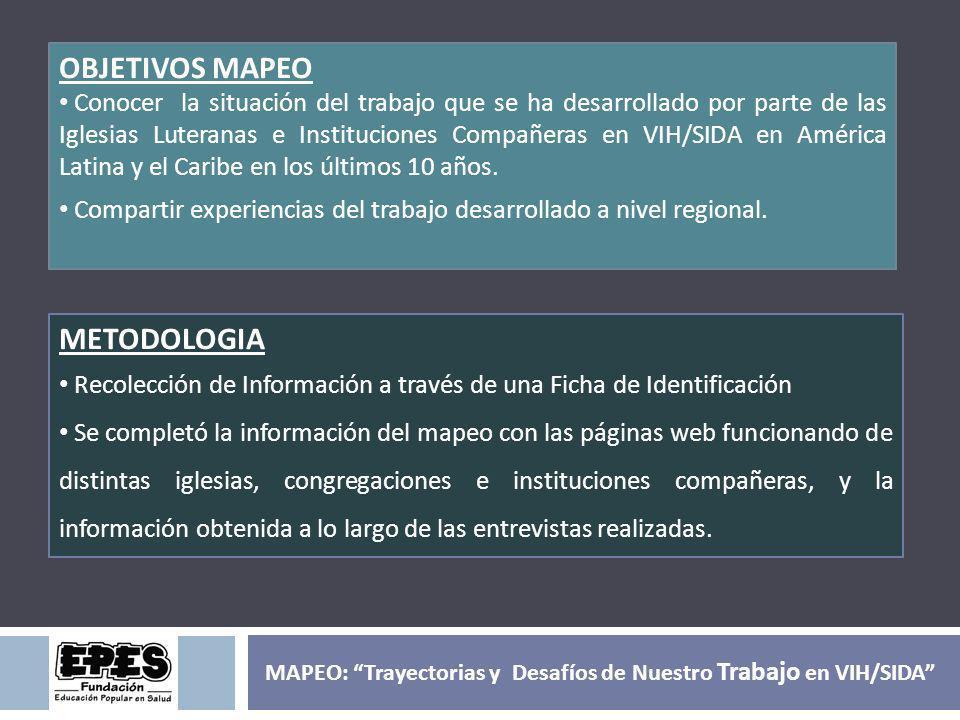 METODOLOGIA El mapeo da cuenta de los últimos 10 años de trabajo realizado en VIH/SIDA por parte de Iglesias Luteranas, Congregaciones e Instituciones Compañeras en América Latina y el Caribe.