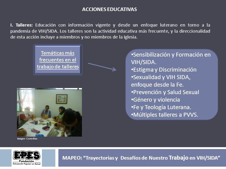 ACCIONES EDUCATIVAS I. Talleres: Educación con información vigente y desde un enfoque luterano en torno a la pandemia de VIH/SIDA. Los talleres son la