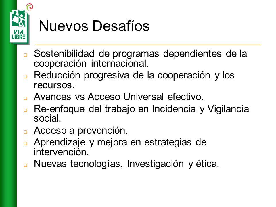 Nuevos Desafíos Sostenibilidad de programas dependientes de la cooperación internacional. Reducción progresiva de la cooperación y los recursos. Avanc