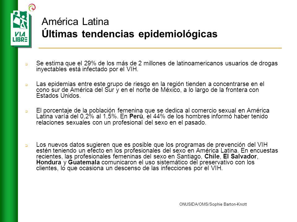 América Latina Últimas tendencias epidemiológicas Se estima que el 29% de los más de 2 millones de latinoamericanos usuarios de drogas inyectables est