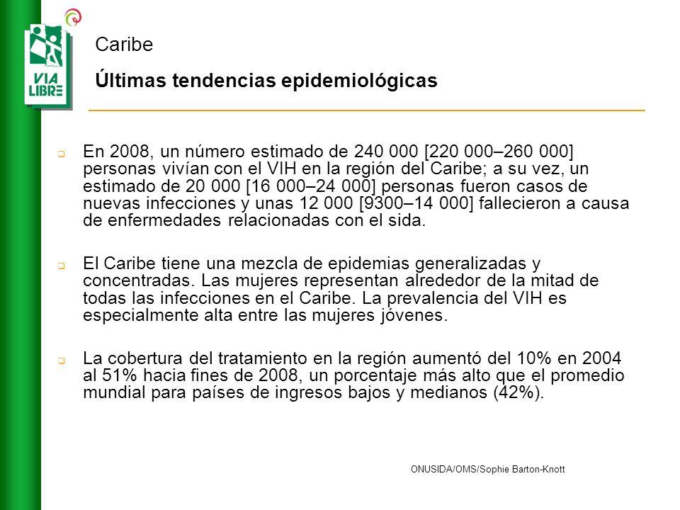 Caribe Últimas tendencias epidemiológicas En 2008, un número estimado de 240 000 [220 000–260 000] personas vivían con el VIH en la región del Caribe;