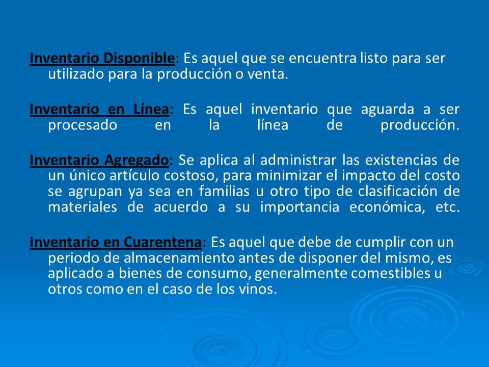 Inventario Disponible: Es aquel que se encuentra listo para ser utilizado para la producción o venta.