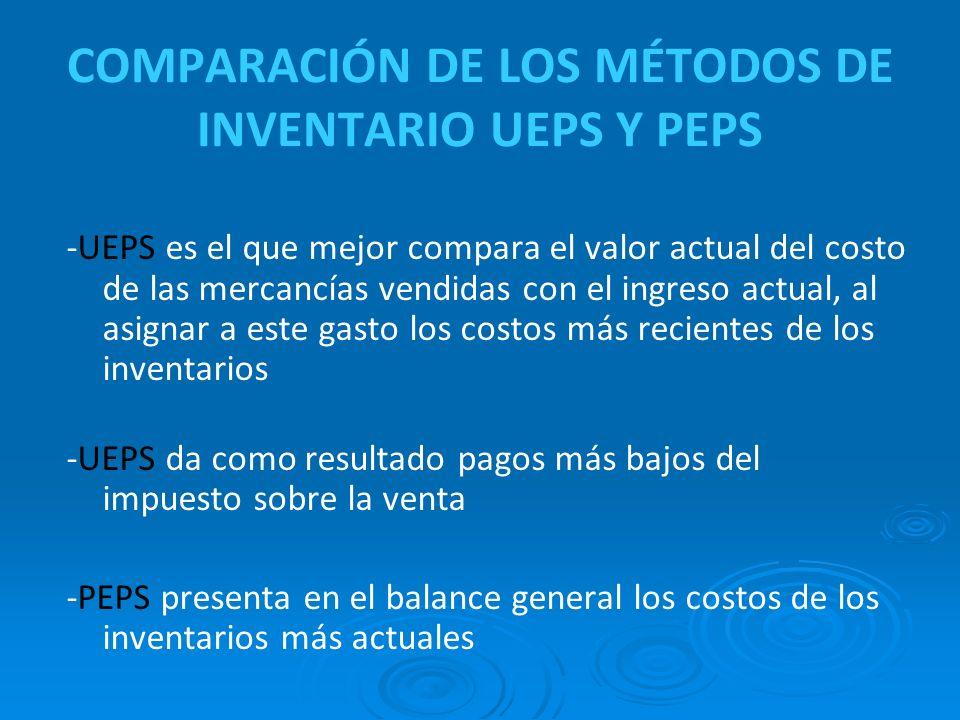 COMPARACIÓN DE LOS MÉTODOS DE INVENTARIO UEPS Y PEPS -UEPS es el que mejor compara el valor actual del costo de las mercancías vendidas con el ingreso