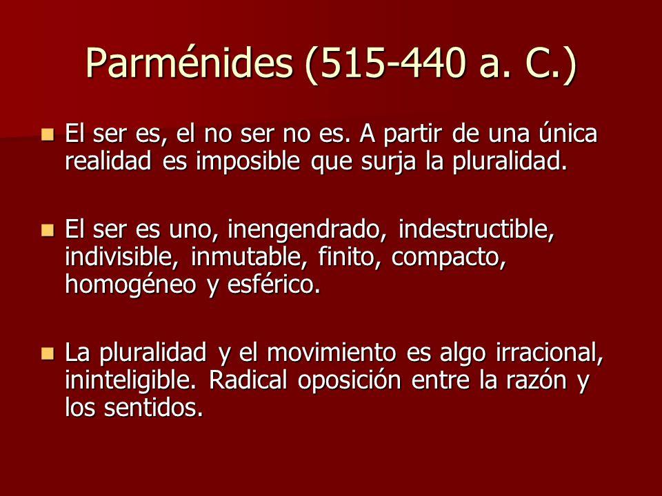 Parménides (515-440 a. C.) El ser es, el no ser no es. A partir de una única realidad es imposible que surja la pluralidad. El ser es, el no ser no es