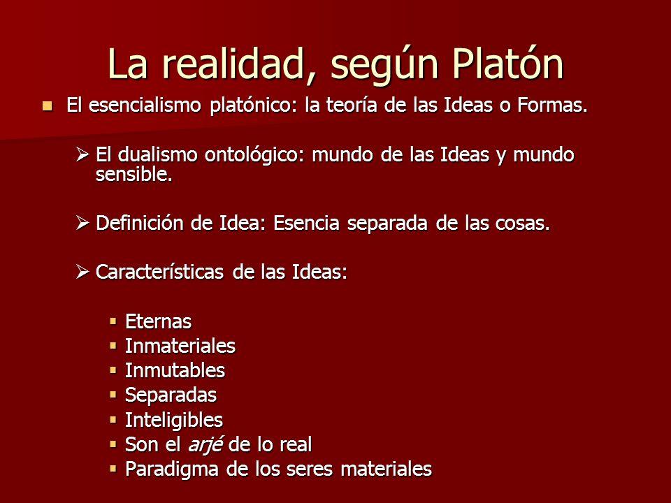 La realidad, según Platón El esencialismo platónico: la teoría de las Ideas o Formas. El esencialismo platónico: la teoría de las Ideas o Formas. El d