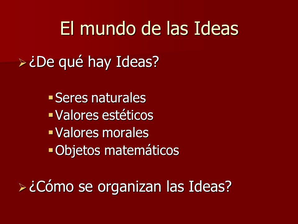 El mundo de las Ideas ¿De qué hay Ideas? ¿De qué hay Ideas? Seres naturales Seres naturales Valores estéticos Valores estéticos Valores morales Valore