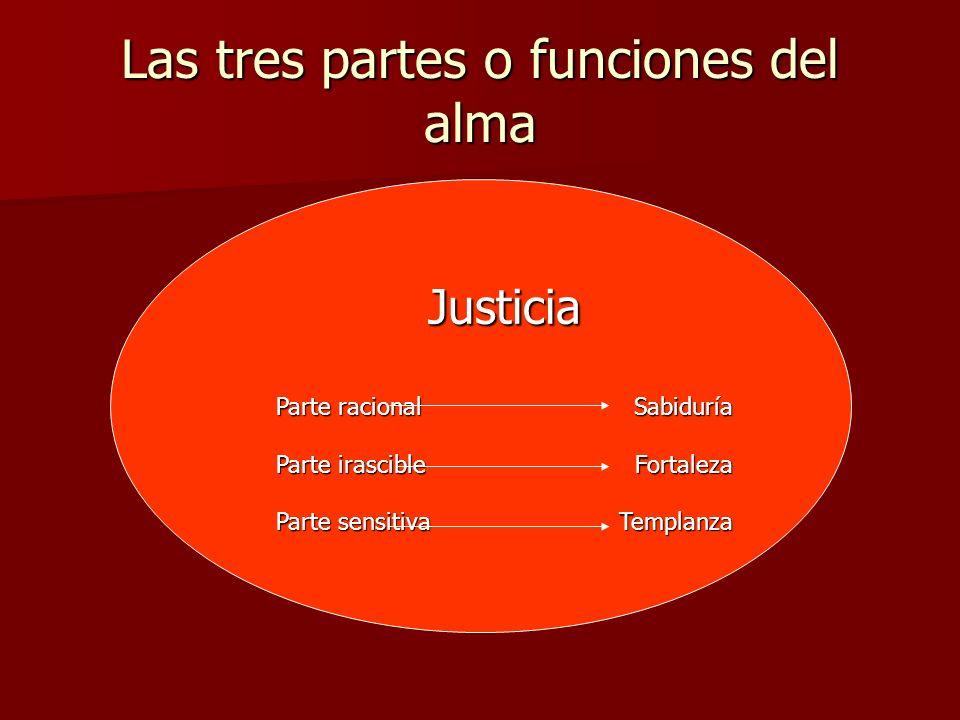Las tres partes o funciones del alma Justicia Parte racional Sabiduría Parte irascibleFortaleza Parte sensitivaTemplanza