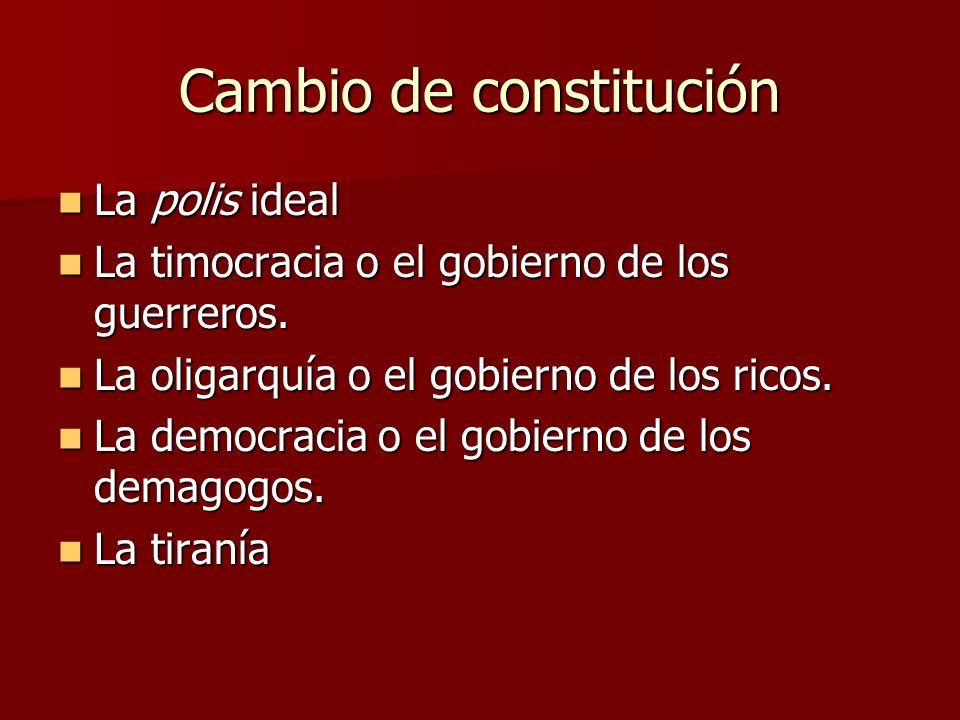 Cambio de constitución La polis ideal La polis ideal La timocracia o el gobierno de los guerreros. La timocracia o el gobierno de los guerreros. La ol