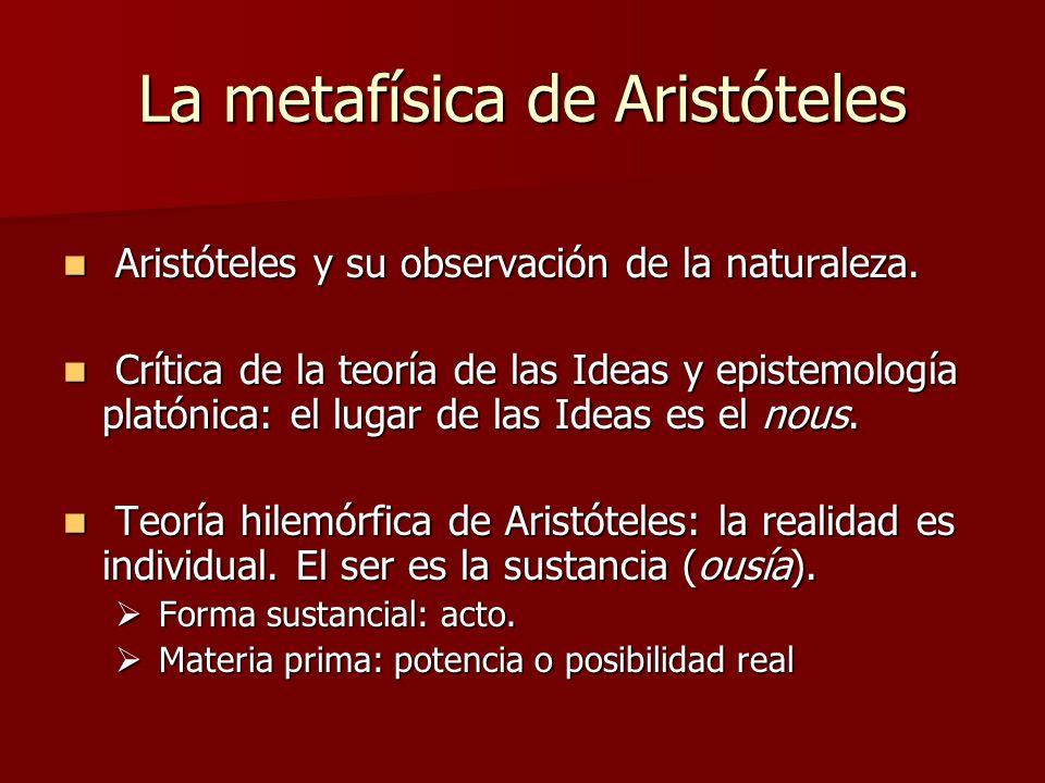 La metafísica de Aristóteles Aristóteles y su observación de la naturaleza. Aristóteles y su observación de la naturaleza. Crítica de la teoría de las