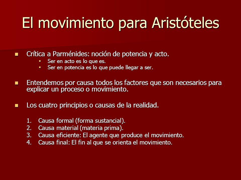 El movimiento para Aristóteles Crítica a Parménides: noción de potencia y acto. Crítica a Parménides: noción de potencia y acto. Ser en acto es lo que