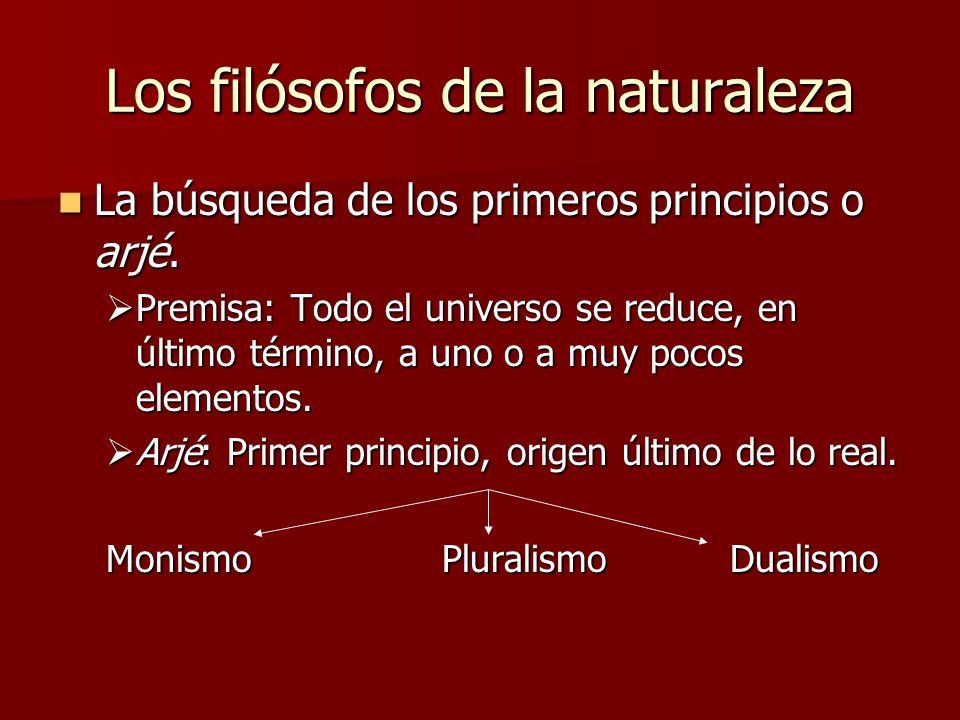 Los filósofos de la naturaleza La búsqueda de los primeros principios o arjé. La búsqueda de los primeros principios o arjé. Premisa: Todo el universo