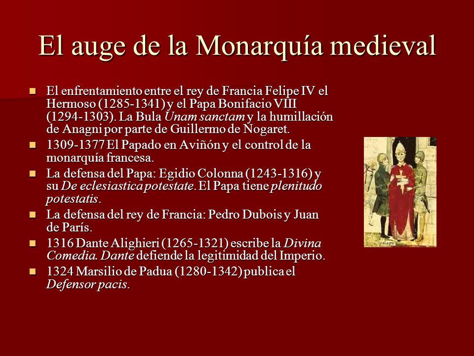 El auge de la Monarquía medieval El enfrentamiento entre el rey de Francia Felipe IV el Hermoso (1285-1341) y el Papa Bonifacio VIII (1294-1303). La B