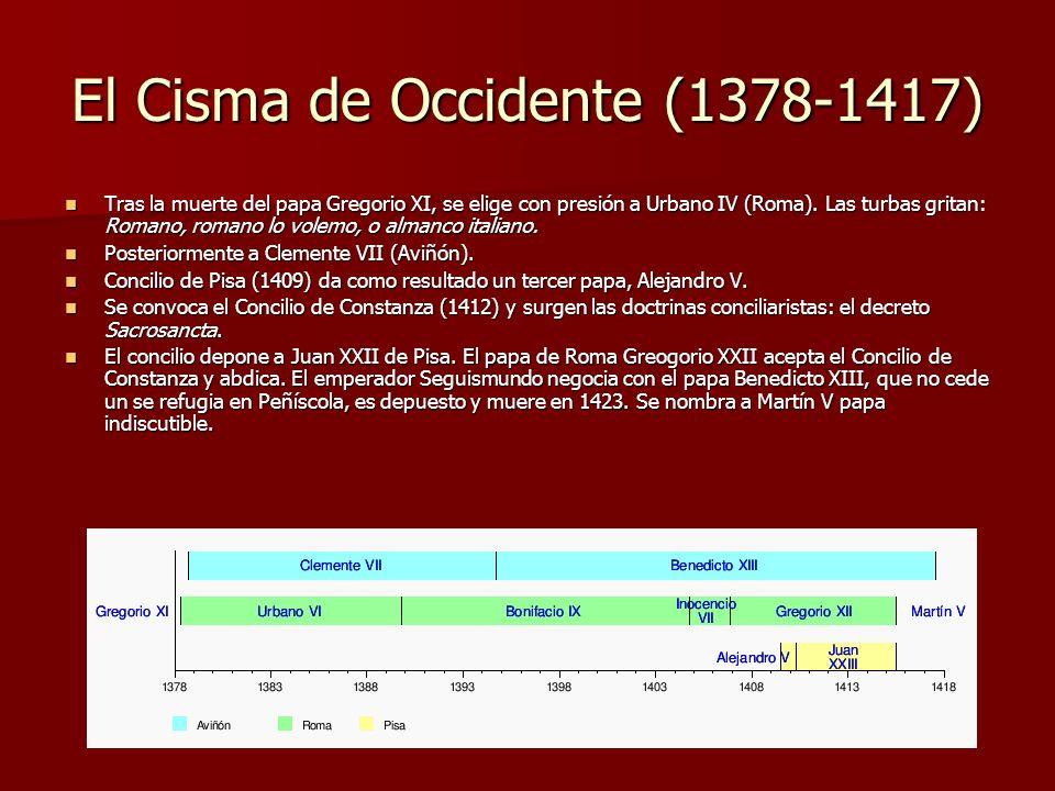 El Cisma de Occidente (1378-1417) Tras la muerte del papa Gregorio XI, se elige con presión a Urbano IV (Roma). Las turbas gritan: Romano, romano lo v
