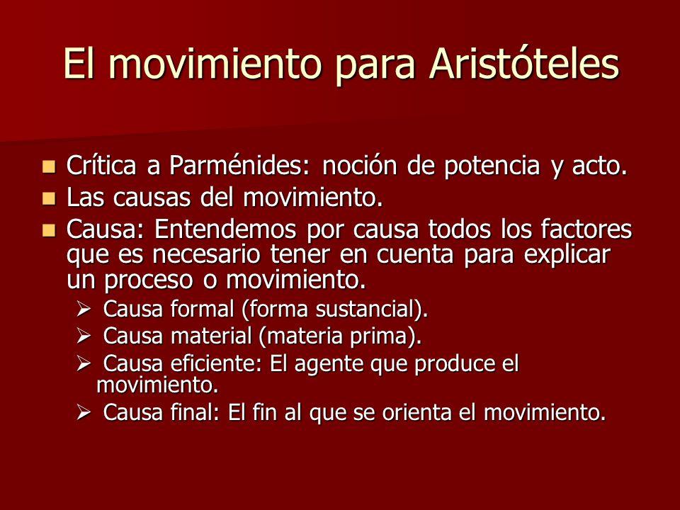El movimiento para Aristóteles Crítica a Parménides: noción de potencia y acto. Crítica a Parménides: noción de potencia y acto. Las causas del movimi