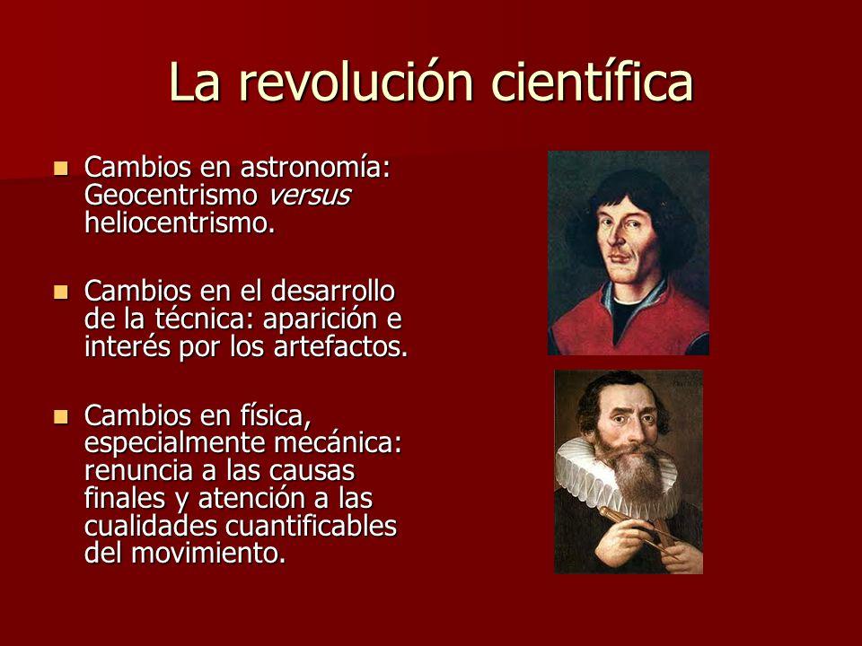 La revolución científica Cambios en astronomía: Geocentrismo versus heliocentrismo. Cambios en astronomía: Geocentrismo versus heliocentrismo. Cambios