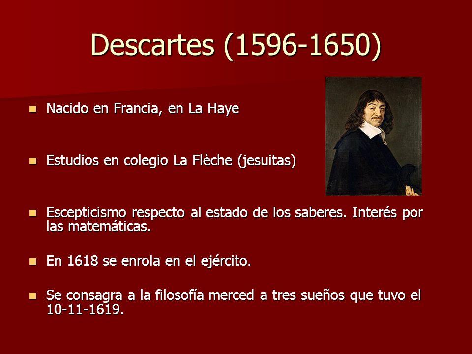 Descartes (1596-1650) Nacido en Francia, en La Haye Nacido en Francia, en La Haye Estudios en colegio La Flèche (jesuitas) Estudios en colegio La Flèc