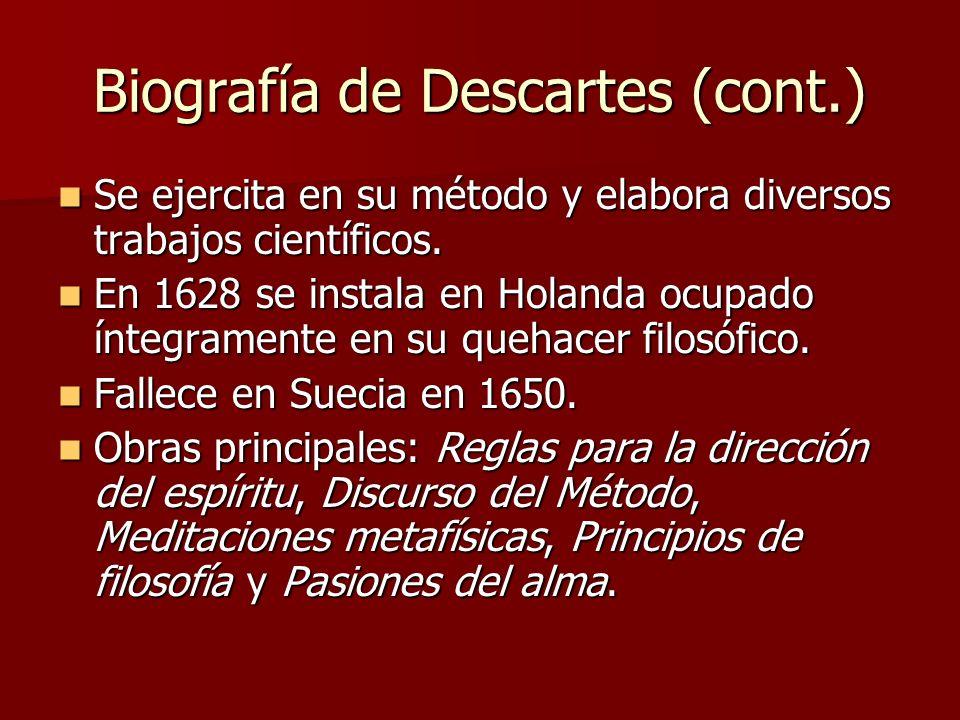 Biografía de Descartes (cont.) Se ejercita en su método y elabora diversos trabajos científicos. Se ejercita en su método y elabora diversos trabajos
