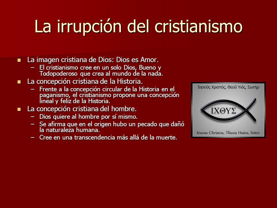 La irrupción del cristianismo La imagen cristiana de Dios: Dios es Amor. La imagen cristiana de Dios: Dios es Amor. –El cristianismo cree en un solo D