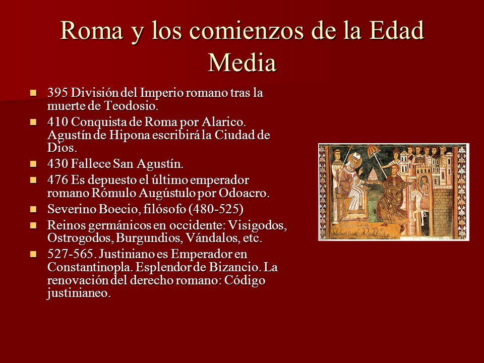 Roma y los comienzos de la Edad Media 395 División del Imperio romano tras la muerte de Teodosio. 395 División del Imperio romano tras la muerte de Te