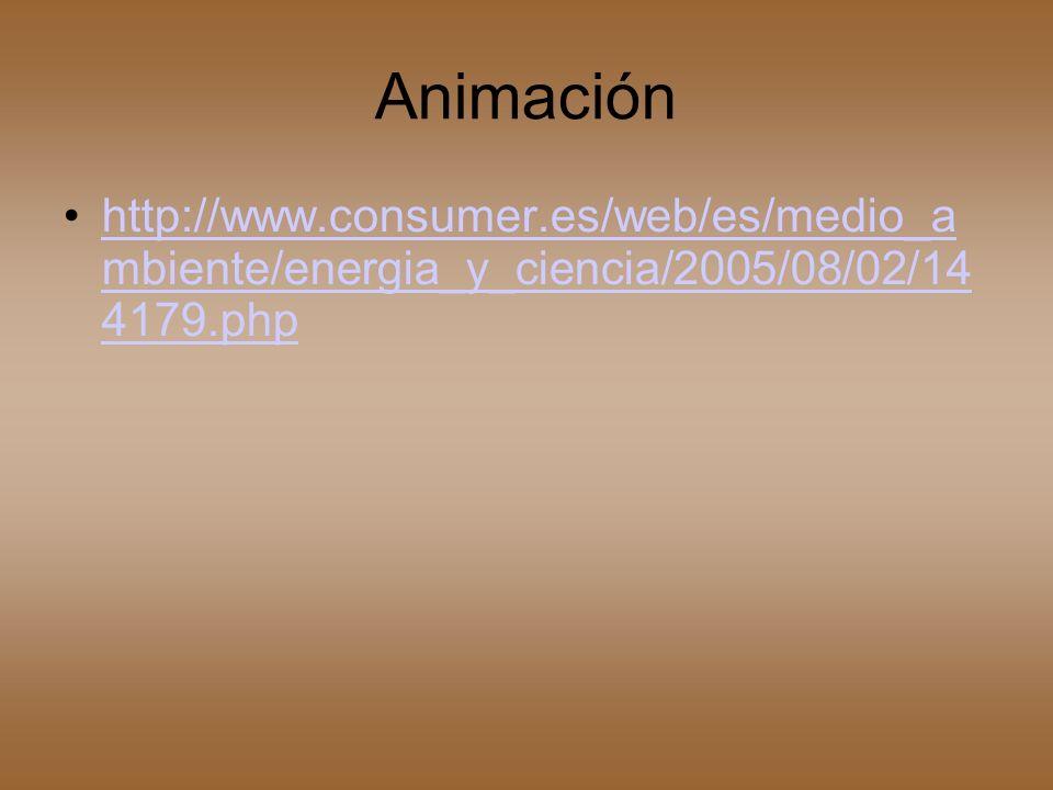 Animación http://www.consumer.es/web/es/medio_a mbiente/energia_y_ciencia/2005/08/02/14 4179.phphttp://www.consumer.es/web/es/medio_a mbiente/energia_