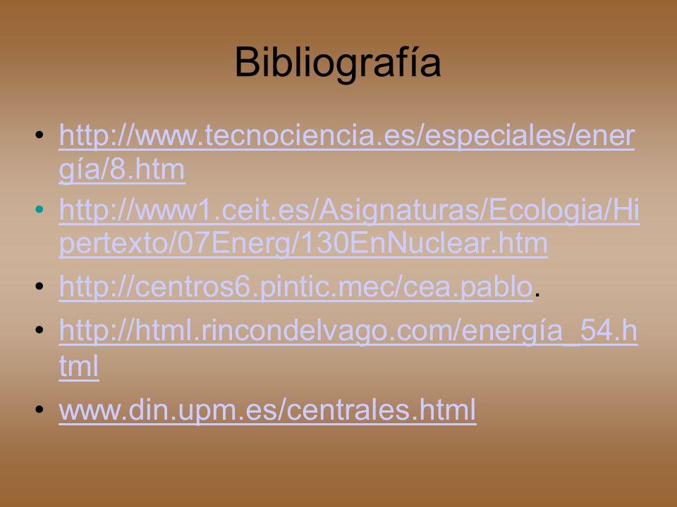 Bibliografía http://www.tecnociencia.es/especiales/ener gía/8.htmhttp://www.tecnociencia.es/especiales/ener gía/8.htm http://www1.ceit.es/Asignaturas/