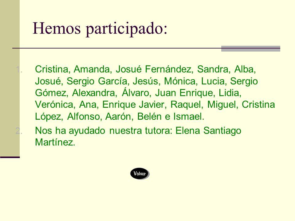 Hemos participado: 1. Cristina, Amanda, Josué Fernández, Sandra, Alba, Josué, Sergio García, Jesús, Mónica, Lucia, Sergio Gómez, Alexandra, Álvaro, Ju