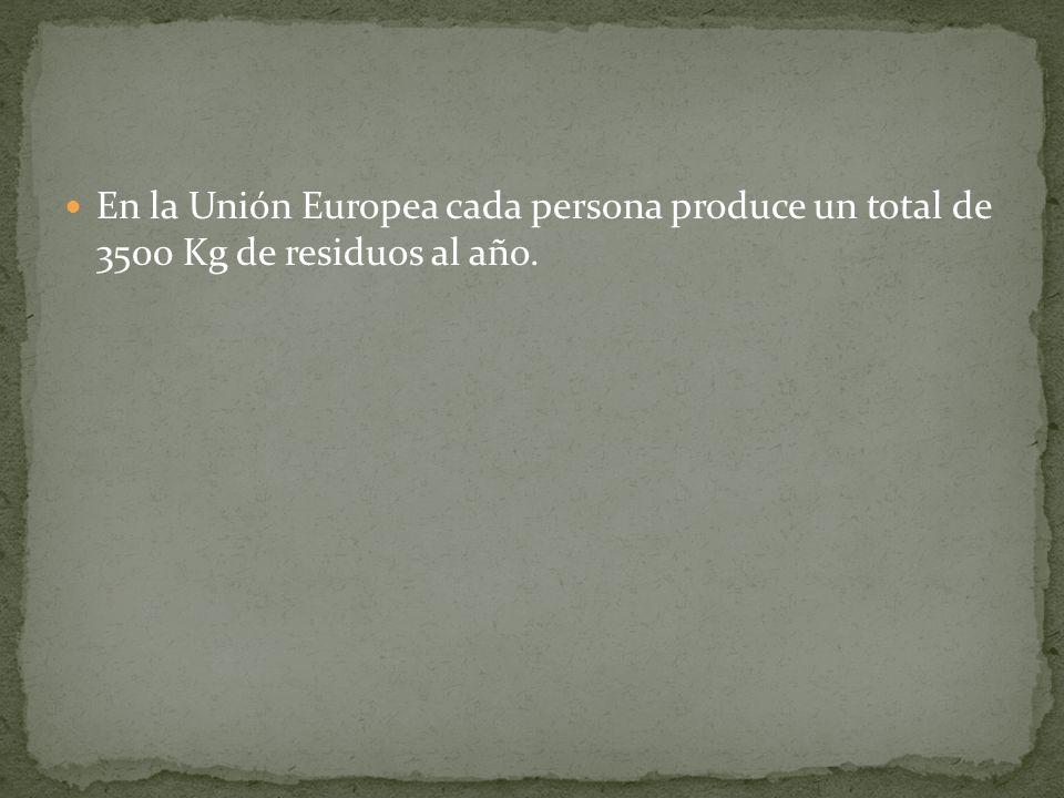 En la Unión Europea cada persona produce un total de 3500 Kg de residuos al año.