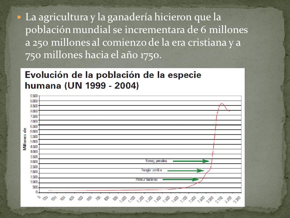 La agricultura y la ganadería hicieron que la población mundial se incrementara de 6 millones a 250 millones al comienzo de la era cristiana y a 750 millones hacia el año 1750.