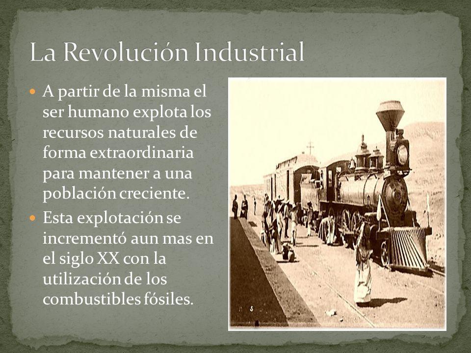 A partir de la misma el ser humano explota los recursos naturales de forma extraordinaria para mantener a una población creciente.