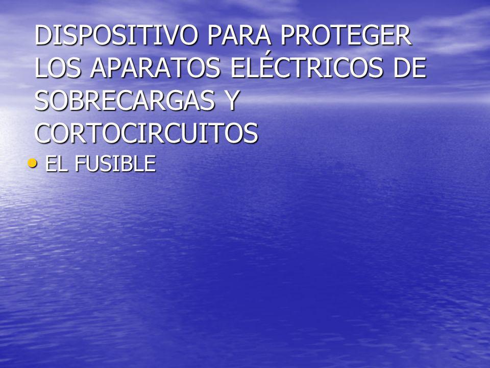 DISPOSITIVO PARA PROTEGER LOS APARATOS ELÉCTRICOS DE SOBRECARGAS Y CORTOCIRCUITOS EL FUSIBLE