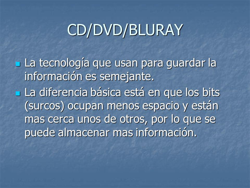 CD/DVD/BLURAY La tecnología que usan para guardar la información es semejante. La tecnología que usan para guardar la información es semejante. La dif