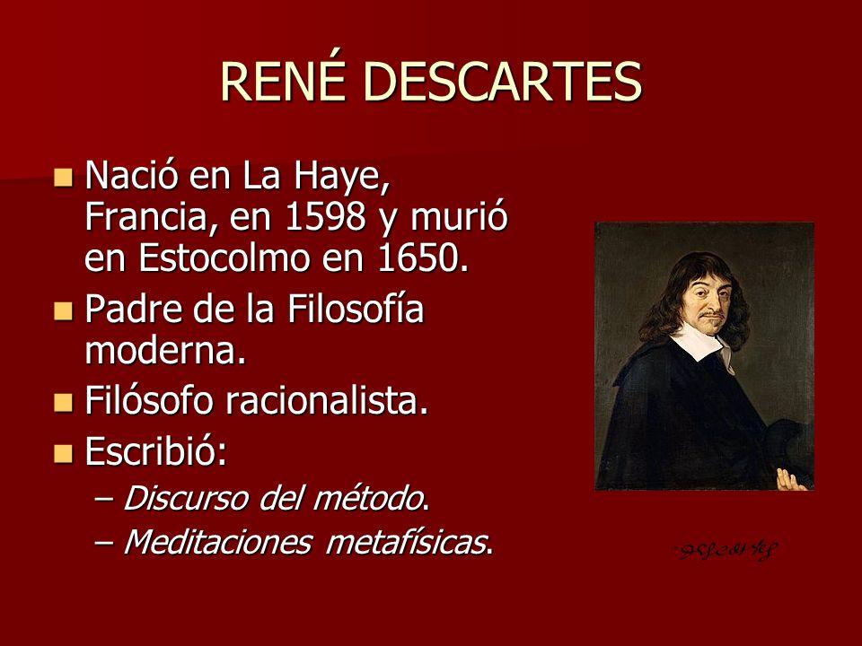 RENÉ DESCARTES Nació en La Haye, Francia, en 1598 y murió en Estocolmo en 1650. Nació en La Haye, Francia, en 1598 y murió en Estocolmo en 1650. Padre