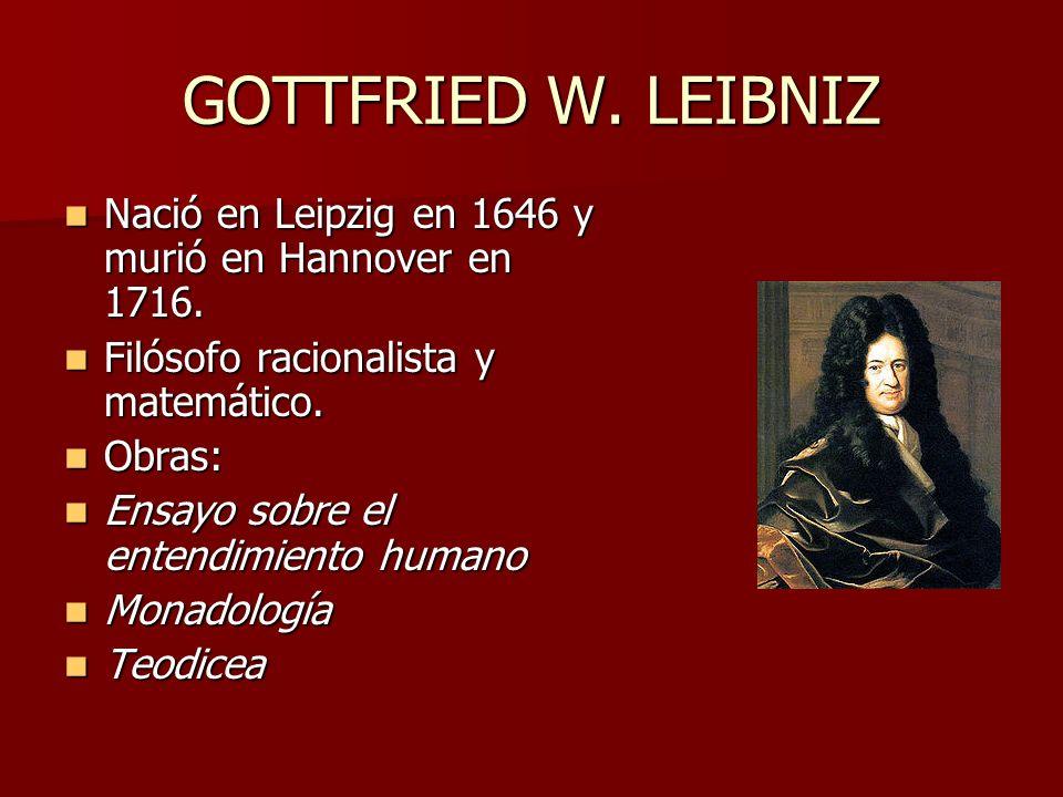 GOTTFRIED W. LEIBNIZ Nació en Leipzig en 1646 y murió en Hannover en 1716. Nació en Leipzig en 1646 y murió en Hannover en 1716. Filósofo racionalista