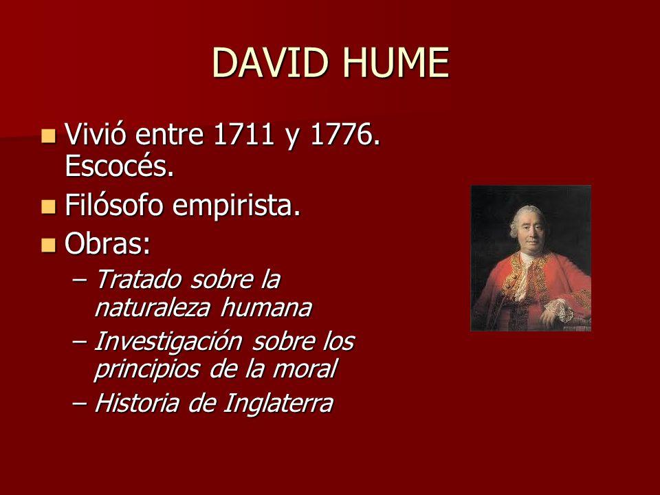 DAVID HUME Vivió entre 1711 y 1776. Escocés. Vivió entre 1711 y 1776. Escocés. Filósofo empirista. Filósofo empirista. Obras: Obras: –Tratado sobre la