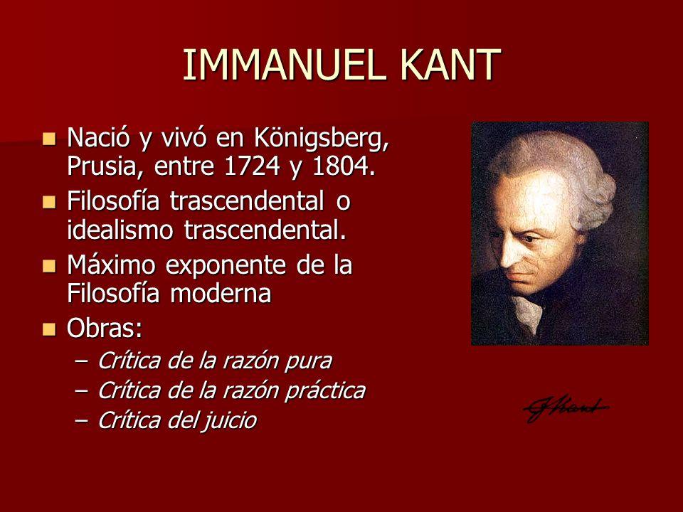 IMMANUEL KANT Nació y vivó en Königsberg, Prusia, entre 1724 y 1804. Nació y vivó en Königsberg, Prusia, entre 1724 y 1804. Filosofía trascendental o