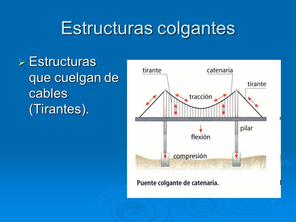 Estructuras colgantes Estructuras que cuelgan de cables (Tirantes). Estructuras que cuelgan de cables (Tirantes).