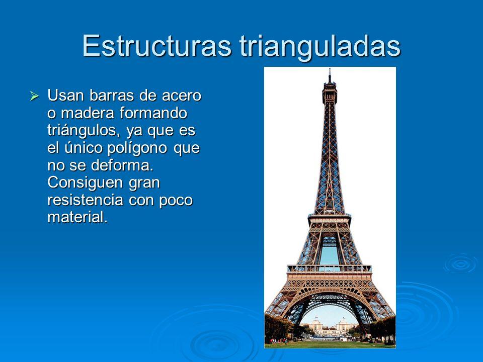 Estructuras trianguladas Usan barras de acero o madera formando triángulos, ya que es el único polígono que no se deforma. Consiguen gran resistencia
