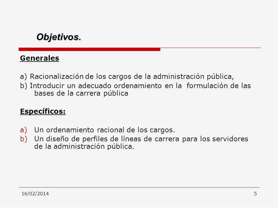 16/02/20145 Generales a) Racionalización de los cargos de la administración pública, b) Introducir un adecuado ordenamiento en laformulación de las ba