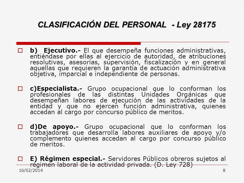 16/02/20148 CLASIFICACIÓN DEL PERSONAL - Ley 28175 b) Ejecutivo.- El que desempeña funciones administrativas, entiéndase por ellas al ejercicio de aut