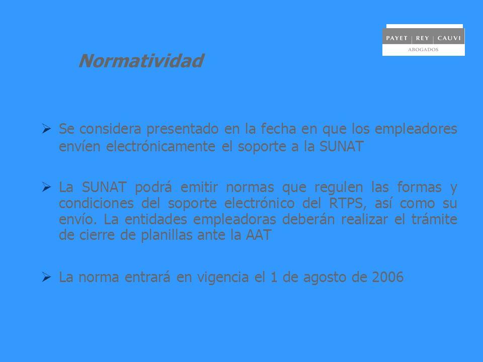 Normatividad Se considera presentado en la fecha en que los empleadores envíen electrónicamente el soporte a la SUNAT La SUNAT podrá emitir normas que
