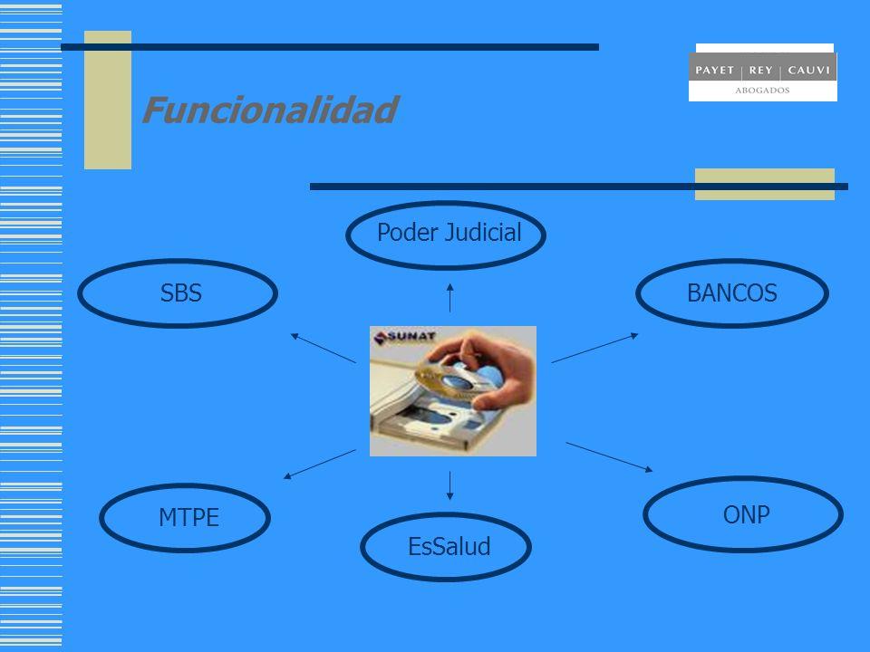 Funcionalidad SBS ONP MTPE BANCOS Poder Judicial EsSalud