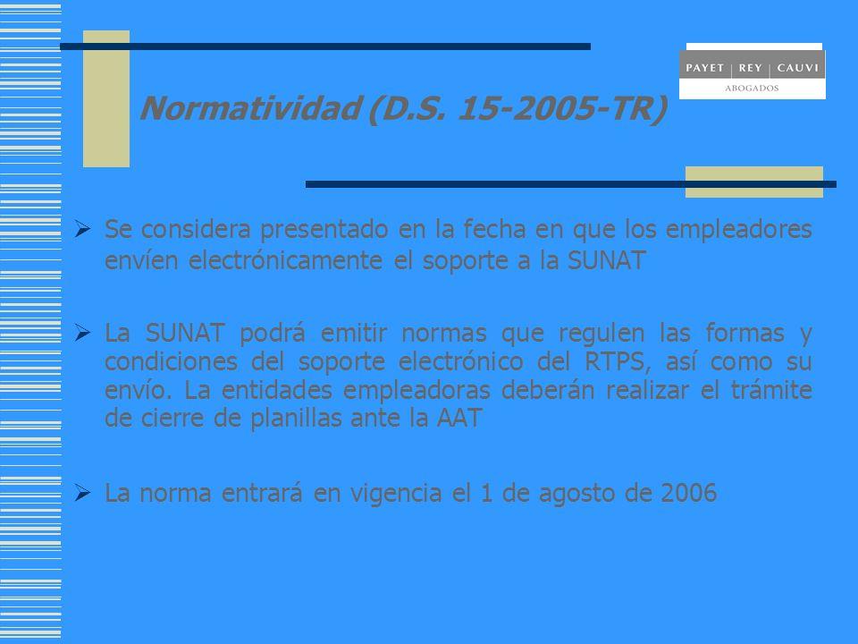 Normatividad (D.S. 15-2005-TR) Se considera presentado en la fecha en que los empleadores envíen electrónicamente el soporte a la SUNAT La SUNAT podrá