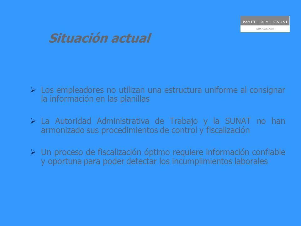 Situación actual Los empleadores no utilizan una estructura uniforme al consignar la información en las planillas La Autoridad Administrativa de Traba
