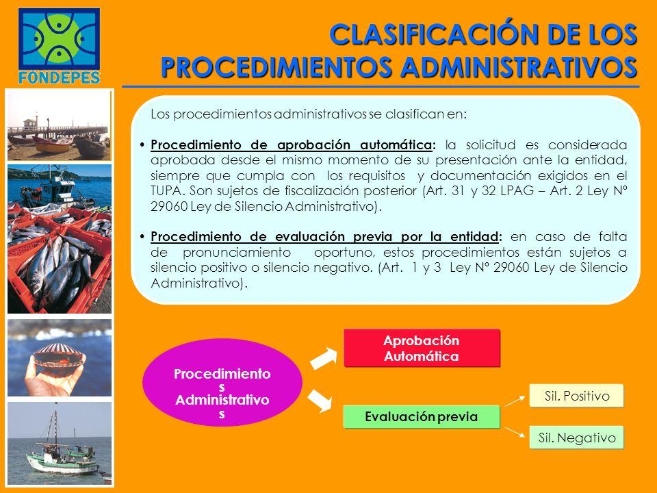 Procedimiento s Administrativo s Aprobación Automática Evaluación previa Sil. Positivo Sil. Negativo CLASIFICACIÓN DE LOS PROCEDIMIENTOS ADMINISTRATIV