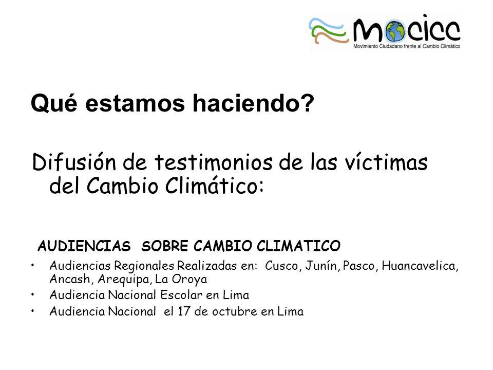 Qué estamos haciendo? Difusión de testimonios de las víctimas del Cambio Climático: AUDIENCIAS SOBRE CAMBIO CLIMATICO Audiencias Regionales Realizadas