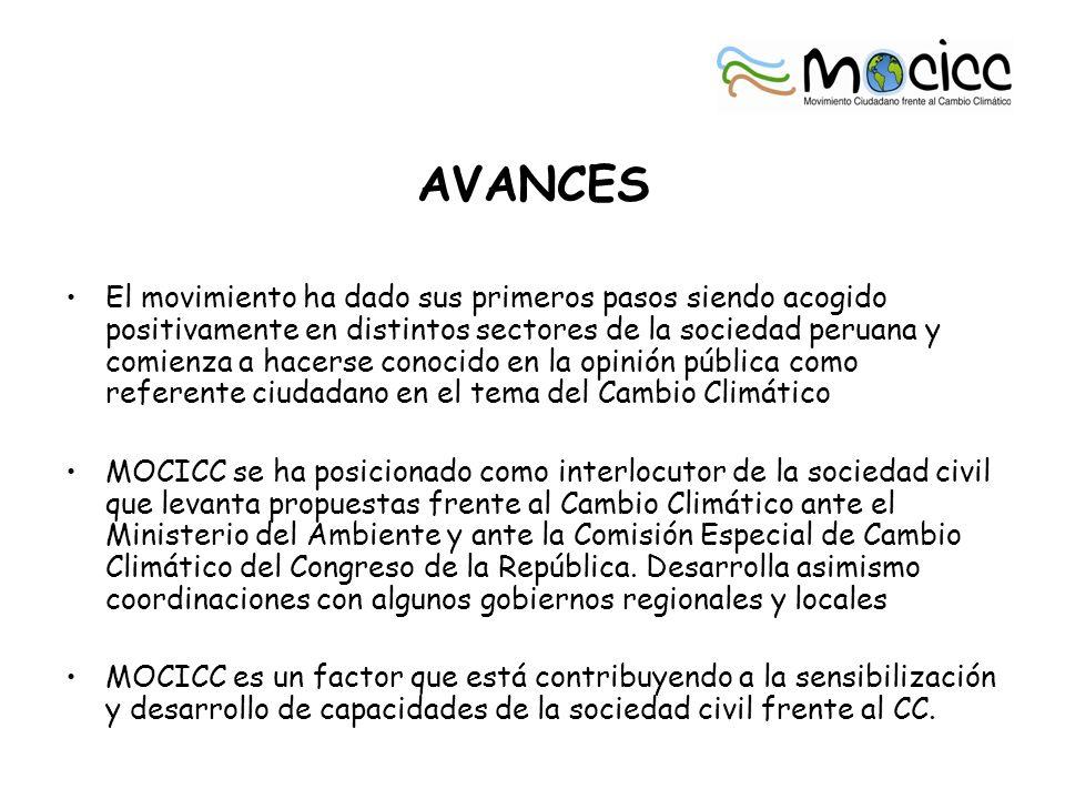 AVANCES El movimiento ha dado sus primeros pasos siendo acogido positivamente en distintos sectores de la sociedad peruana y comienza a hacerse conoci