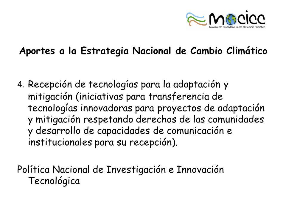 Aportes a la Estrategia Nacional de Cambio Climático 4.