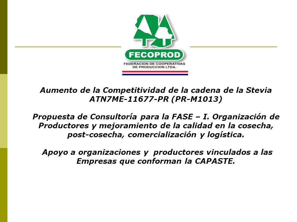 Aumento de la Competitividad de la cadena de la Stevia ATN7ME-11677-PR (PR-M1013) Propuesta de Consultoría para la FASE – I. Organización de Productor