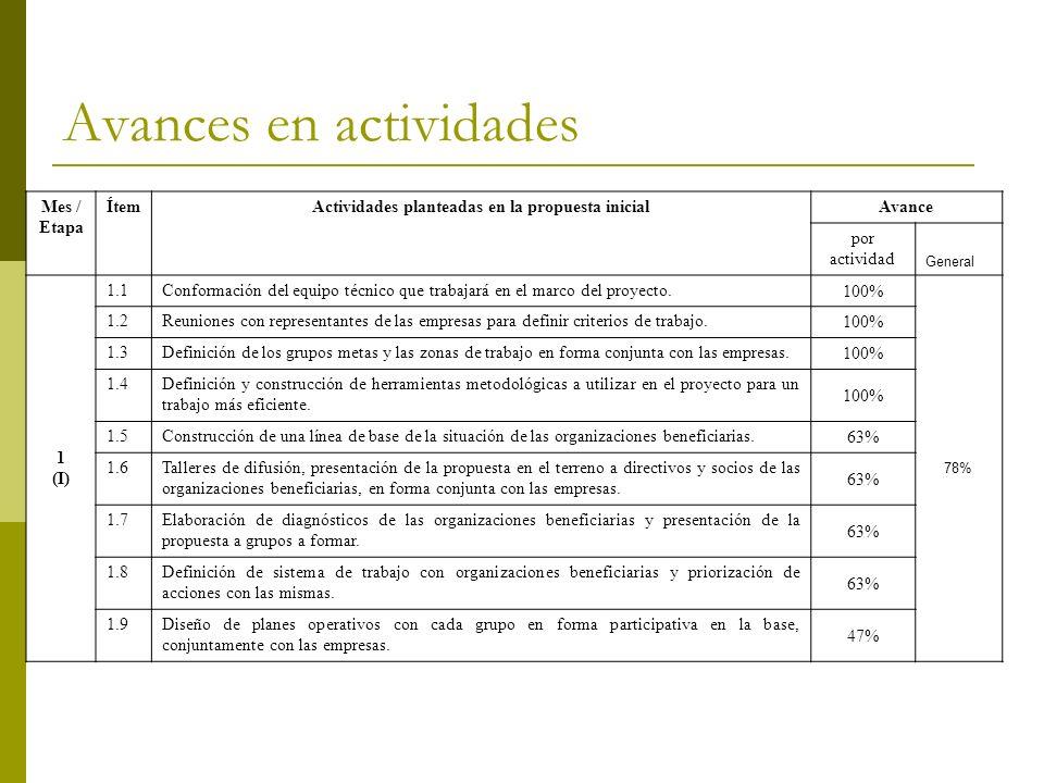 Avances en actividades Mes / Etapa ÍtemActividades planteadas en la propuesta inicialAvance por actividad General 1 (I) 1.1Conformación del equipo téc