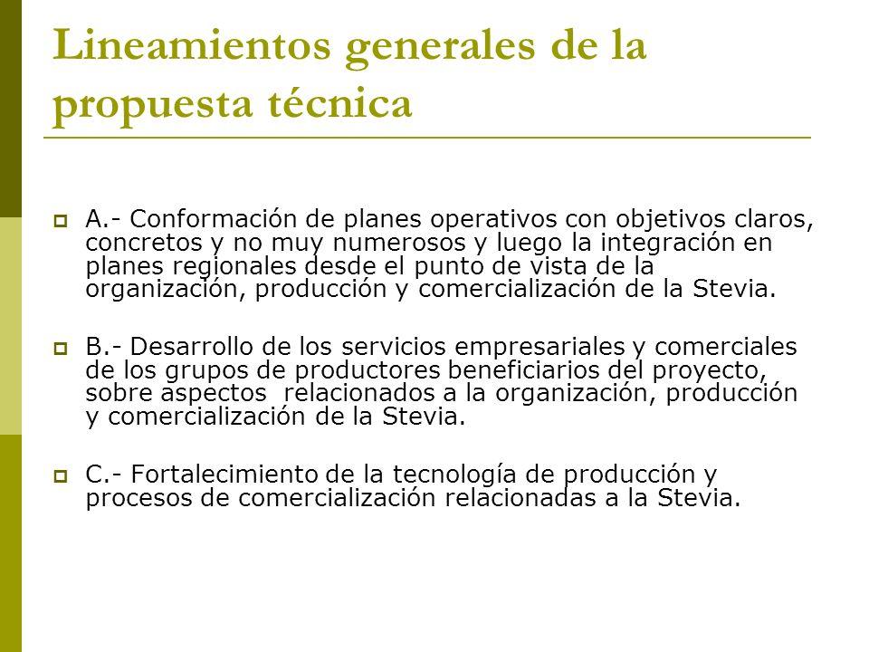 Lineamientos generales de la propuesta técnica A.- Conformación de planes operativos con objetivos claros, concretos y no muy numerosos y luego la int